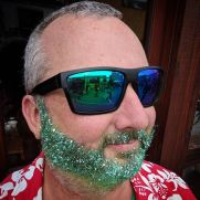 Green sparkle beard Mike